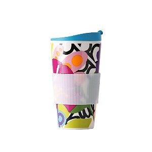 Copo de Porcelana e Silicone Floral Oasis 470 ml