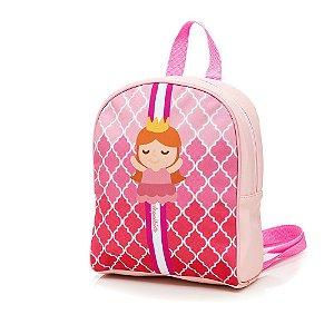 Bolsa Mochila Infantil Cartoon Princesa Rosa