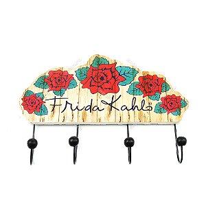 Cabideiro de Madeira Frida Kahlo Flores