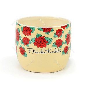 Cachepô de Cerâmica Frida Kahlo Flores
