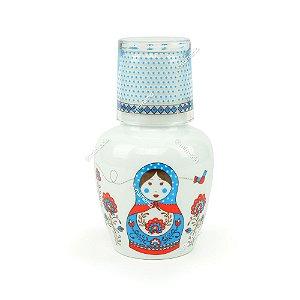 Moringa de Porcelana Matrioska Azul 750 ml