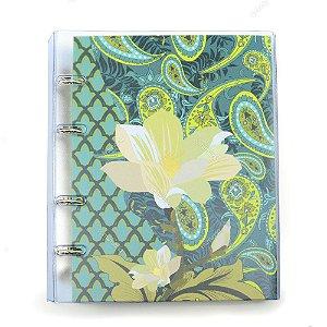 Caderno Fichário PVC Botanic Floral Verde