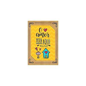 PostCard com Imã O Amor Mora Aqui Amarelo