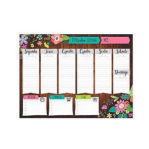 Bloco Planner de Mesa Minha Semana Floral Marrom
