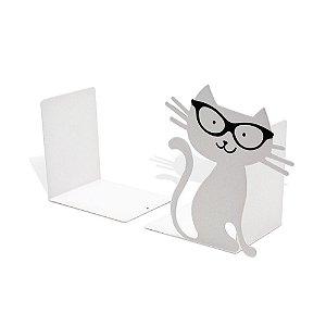 Aparador de Livros em Aço Gatinho Branco