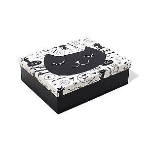 Caixa Organizadora em Aço Gatinho Preta e Branca