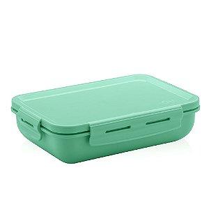 Marmita Hermética de Plástico com Divisória Verde Retangular