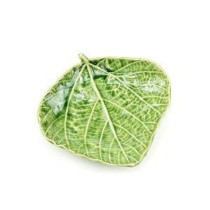 Prato Decorativo em Cerâmica Folha de Bétula Verde