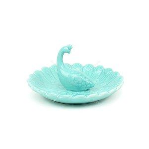 Prato Decorativo de Cerâmica Pavão Azul