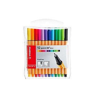 Kit Canetas Stabilo Pen 88 Mini com 12 Cores