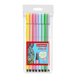 Kit Canetas Stabilo Pen 68 Pastel com 8 Cores