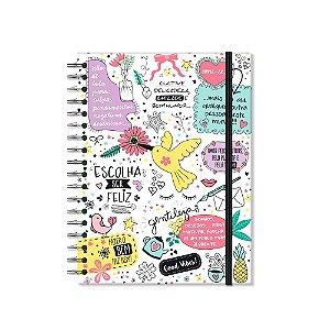 Caderno Colegial Beija-Flor Branco 200 folhas