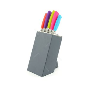 Conjunto de Facas Coloridas com Cepo 5 peças Kitchen Craft