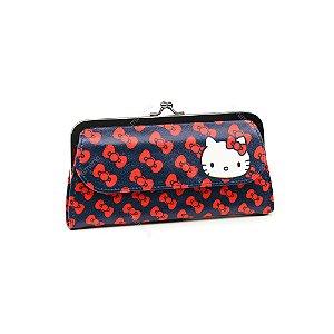 Carteira Hello Kitty Azul com Laço Vermelho