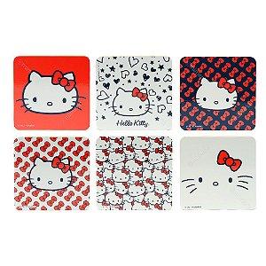 Conjunto 6 Porta Copos de Cortiça Hello Kitty