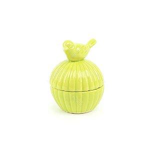 Mini Pote em Cerâmica Pássaro Verde