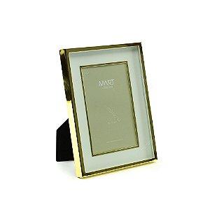 Porta Retrato Metalizado Duplo Liso Dourado 10x15