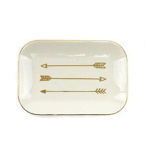 Mini Prato de Cerâmica Setas Branco e Dourado