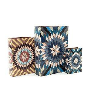 Conjunto 3 Livros Caixa Decorativos Mosaico