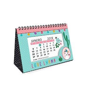 Calendário de Mesa Decorado Lhama 2019