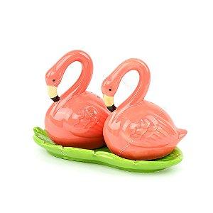 Saleiro e Pimenteiro em Cerâmica Flamingo