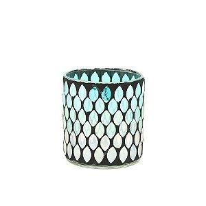 Castiçal Decorativo em Vidro Mosaico Degradê