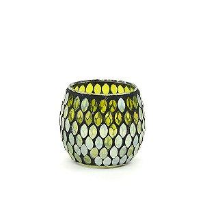 Castiçal Decorativo em Vidro Mosaico Verde
