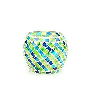 Castiçal Decorativo em Vidro Mosaico Verde e Azul