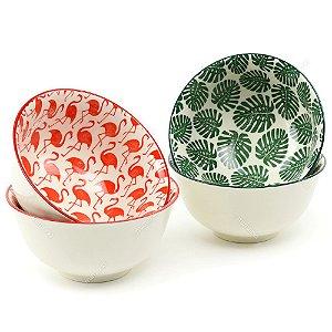 Conjunto Bowls de Cerâmica Flamingos e Folhas Grande
