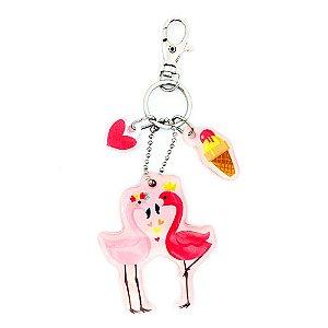 Chaveiro Decorado Sweet Flamingos Rosa