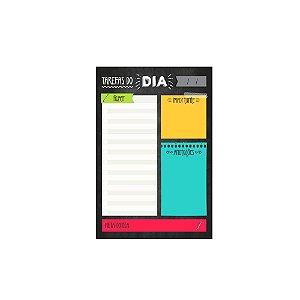 Bloco Planner de Mesa Diário Tarefas do Dia Preto