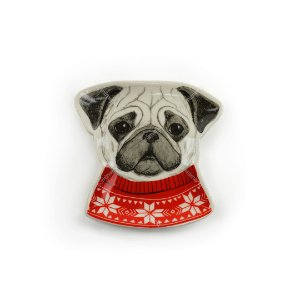 Prato Decorativo em Cerâmica Cachorro Trinket