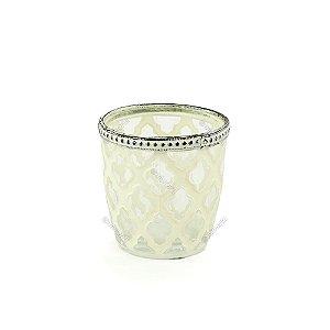 Castiçal de Vidro Marroquino Flores Branco