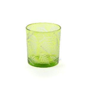 Castiçal de Vidro Estampado Pinheiros Verde e Branco