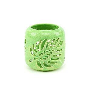 Castiçal em Cerâmica Vasado Folha Verde
