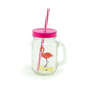 Copo de Vidro com Canudo Flamingo Pink