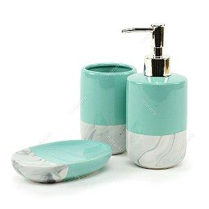 Kit de Banheiro em Cerâmica Mármore e Verde
