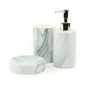 Kit de Banheiro em Cerâmica Mármore Branco