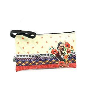 Necessarie Estampada Pequena com Alça Frida Kahlo Bege