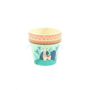 Vaso de Cerâmica Lhama Colorido Pequeno