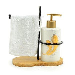Kit de Banheiro Porta Sabonete Líquido com Suporte para Toalha