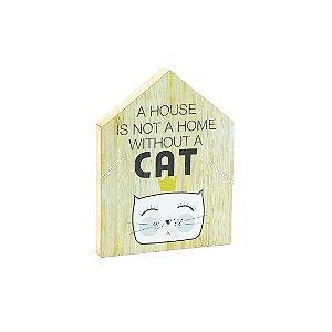Quadro de Madeira em Formato de Casa Gato
