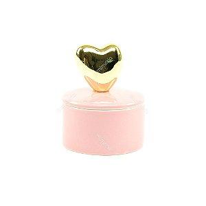 Mini Caixa de Cerâmica Redonda Coração Dourado e Rosa
