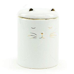Pote de Cerâmica Gato Branco e Dourado Grande