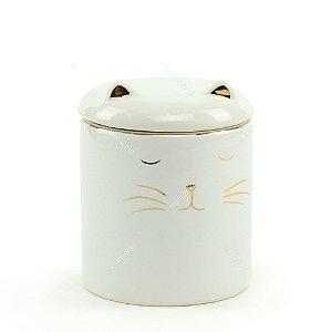 Pote de Cerâmica Gato Branco e Dourado Pequeno