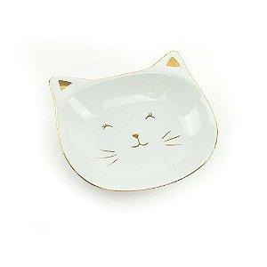 Prato de Cerâmica Gato Branco e Dourado Grande