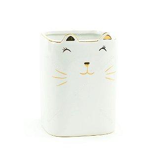 Porta-Treco de Cerâmica Gato Branco e Dourado