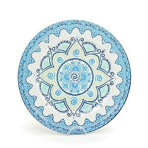 Prato Sousplast de Plástico Mandala Azul e Branca
