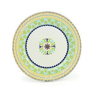 Prato Sousplast de Plástico Mandala Verde e Amarela