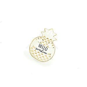 Mini Prato Decorativo de Cerâmica Abacaxi Branco e Dourado
